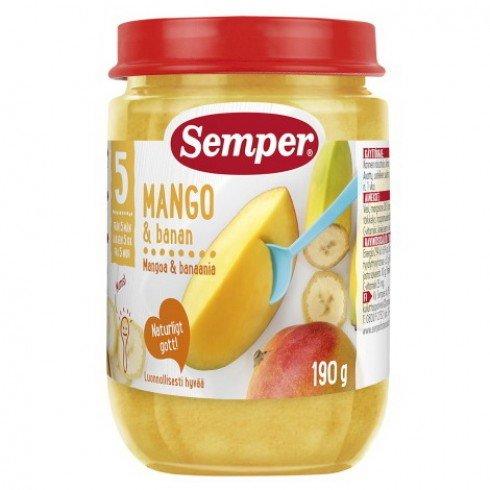 Semper  Бебешко пюре от манго и банани 5 м.+ 190 гр. 9510
